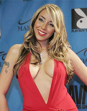 LADY IN RED: Adult film actress Delilah Strong arrives for the Adult Movie ...