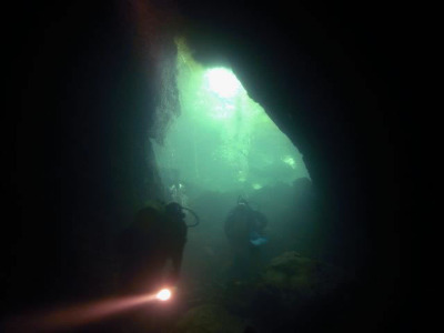 The way out of the Riwaka caves. A welcome sight.
