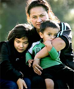 Wiki Tamihana, 10, with mother Sharlene Morunga and brother Piripi Tamihana, 2.