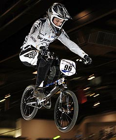 Sarah Walker on her way to winning a World BMX title in Adelaide.