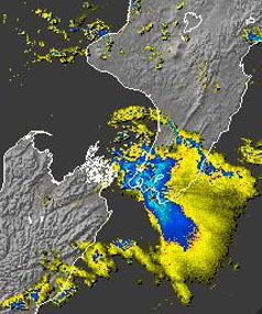 MetService image showing rainfall intensity