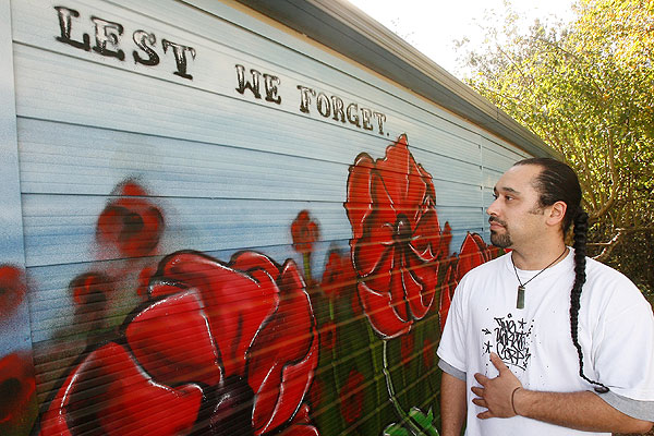 Garage graffiti mural honours Anzacs