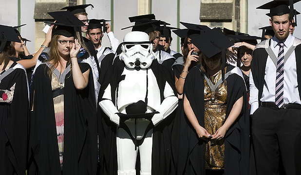 Storm Trooper Manji Pieters graduating in Fine Arts and Film waits for the Parade to begin.