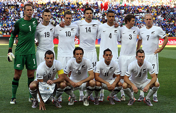 ARM'N ARM: The All Whites line up before their 1-1 draw with Italy on Monday.