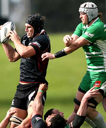 North Harbour's All Black lock Anthony Boric grabs a lineout throw  ahead of Manawatu No 8 Hamish Gosling