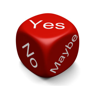 dice with yes, no, maybe words on it