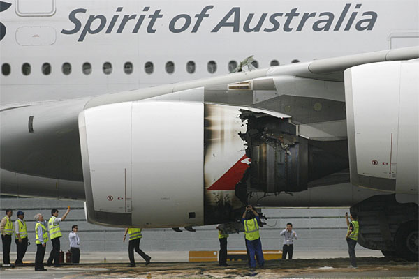 The wrecked engine after the Qantas plane landed in Singapore.