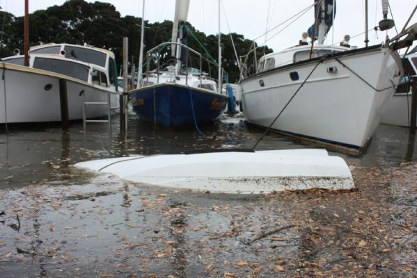 This boat mooring at the Milford Marina on the North Shore could not withstand the storm. 