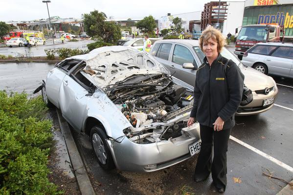 Helena Campbell' s car ended up 200 metres from where she parked at Pak'n Save. The tornado didn't even touch the car next to her's, she said.