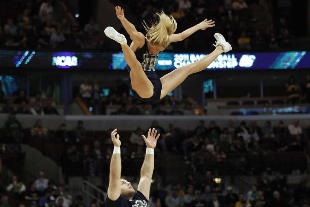 of the world notre dame university cheerleaders perform during