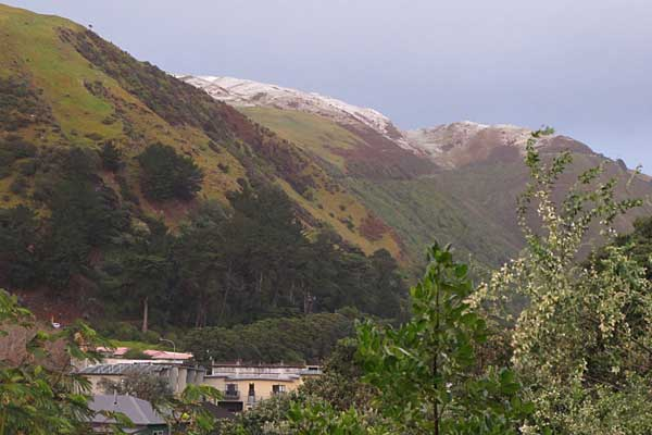Snow on the hills above Paekakariki.