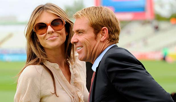 APPEALING: Liz Hurley and Shane Warne at Edgbaston cricket ground after ...