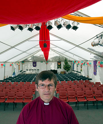 Mark Chamberlain, vicar at St Barnabas Church in Fendalton, in the marquee it will be using for Christmas services.