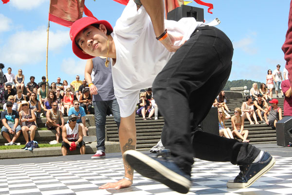 Aay Goreumpai perform with his duo Mario Brothers in the Breakdance competition at Jim Beam Homegrown