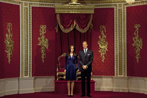 Waxwork models of Britain's Prince William and his wife Catherine, Duchess of Cambridge are unveiled at Madame Tussauds in London.
