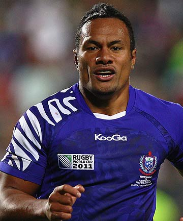 Eliota Fuimaono Sapolu plays for Samoa at the Rugby World Cup.