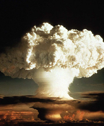 The mushroom cloud of the first test of a hydrogen bomb,