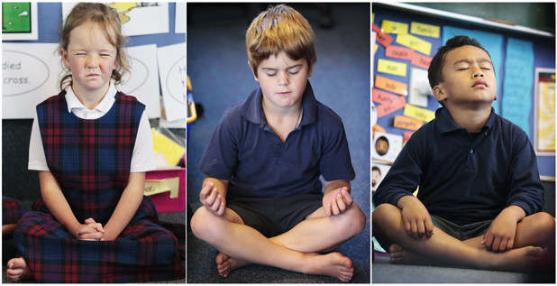 OOOOHM:  Paige Arnott, left, Cody McCaig and Theo Tahana, all 6, of St Paul's Primary School in Ngaruawahia, practice meditation.