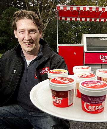 DESSERT DEAL: Nathan Meyer, of Carrello del Gelato, is cranking up productions to fulfil a new contract with the Hell's Pizza chain.