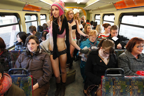 Exposed protesters on a Wellington train.