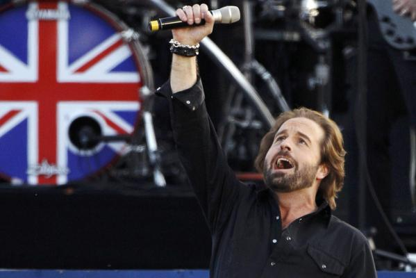 British tenor Alfie Boe performs during the Diamond Jubilee concert in front of Buckingham Palace in London.