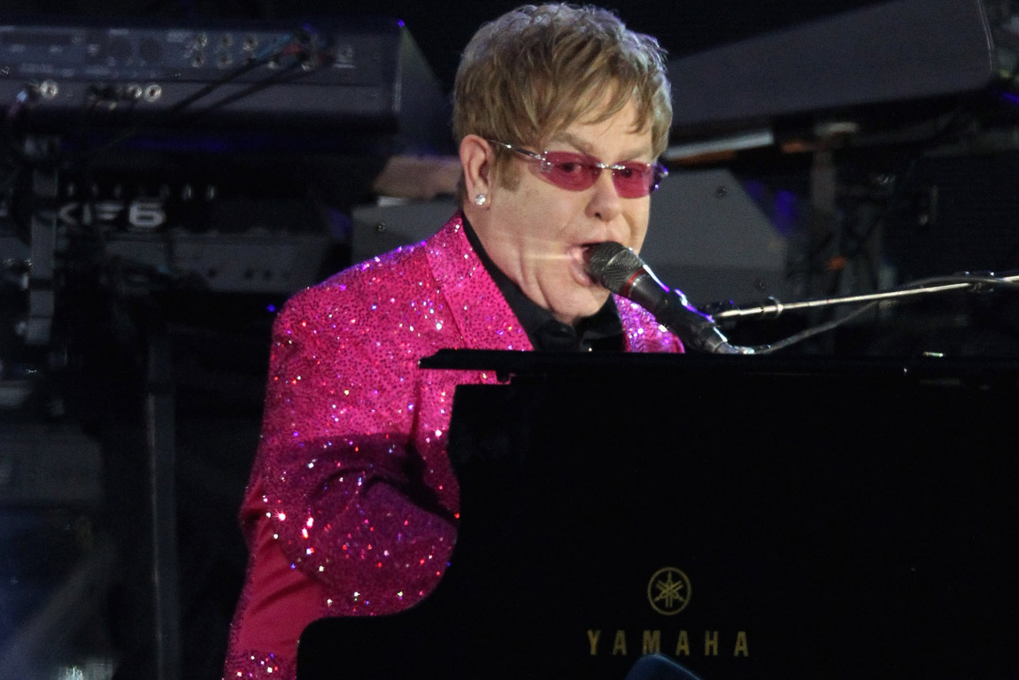 Sir Elton John performs on stage during the Diamond Jubilee concert at Buckingham Palace in London.