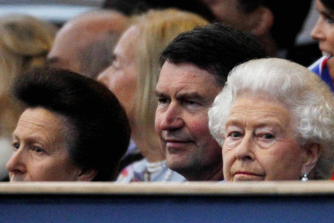 Britain's Queen Elizabeth (right) watches during her Diamond Jubilee concert in front of Buckingham Palace in London.