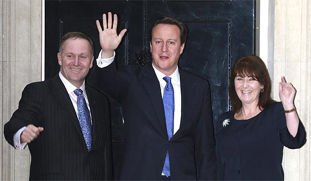SAY CHEESE: Prime Minister John Key and wife Bronagh flank British PM David Cameron outside No. 10 Downing St.
