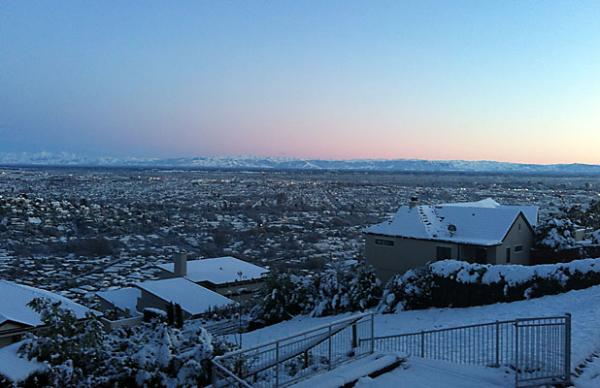 Dawn over snow-covered Christchurch