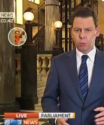 Patrick Gower 3 News live cross with Michelle Boag in background
