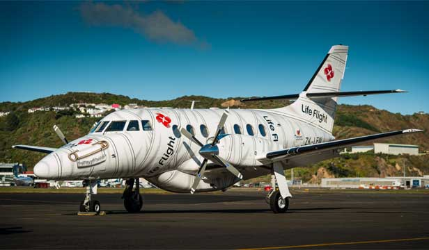 The new air ambulance for Wellington's Life Flight Trust is a J32 Jetstream with livery designed by Weta Workshop. Photo: Mark Tantrum