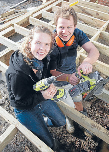TOOLS AT THE READY: Hamilton lovebirds Richard Boobyer, 24, and Sarah Adams, 21, will feature on The Block, TV3s home-renovation reality series.