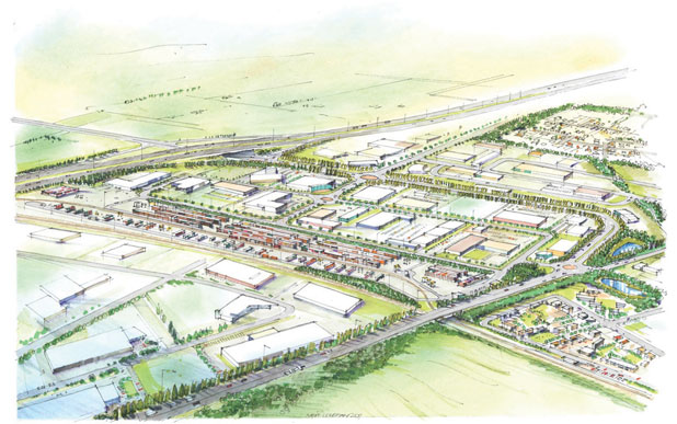ECONOMIC POWERHOUSE: Tainui Group Holdings' proposed inland port for Ruakura. Foreground, a new yet-to-be-named road leads into the existing Silverdale Rd (between ponds) and a realigned Ruakura Rd, which will run under the new Waikato Expressway (top). The main Tauranga-Auckland rail line emerges at bottom right.