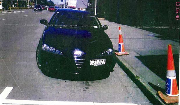 THE ALLEGED OFFENCE: Brett Mainey's car in Cambridge Terrace, with the offending cones.