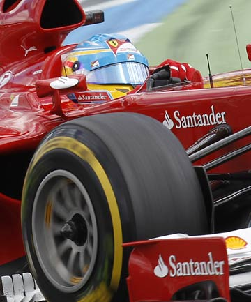 Fernando Alonso on his way to winning the German Grand Prix from pole position.