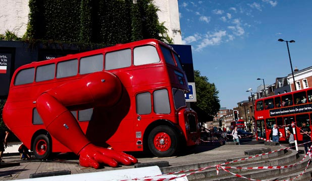 London Boosted push up bus sculpture