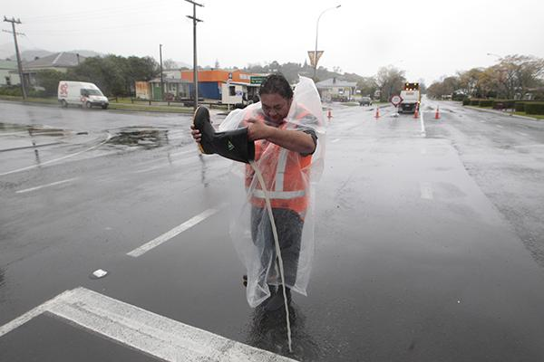 Ruth Kauhou on road duty  in Paeroa where SH26 has been closed.