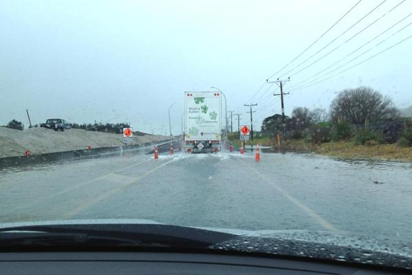 Water on the Whakatane road just out of Tauranga.