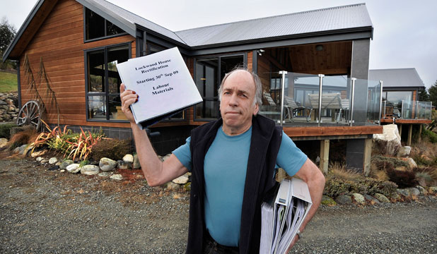 Barry Small, of Te Anau, outside his Lockwood house on the Te Anau-Manapouri highway.