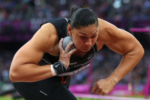 NZ's Valerie Adams competes in the women's shot put final at the London 2012 Olympic Games.