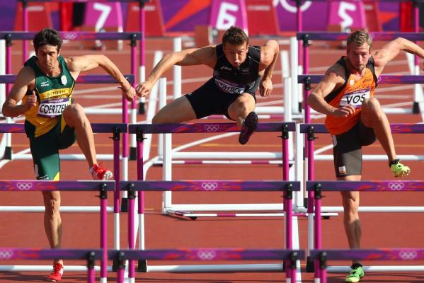 New Zealand's Brent Newdick competes in the 110m hurdles event of the decathlon at the London Olympics.
