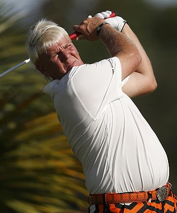 John Daly of the US hits his tee shot on the third hole during the first round of the PGA Championship at The Ocean Course on Kiawah Island, South Carolina.
