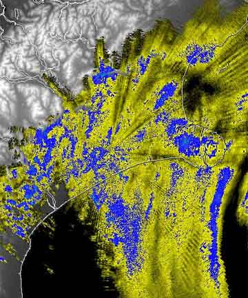 DOWNPOURS: Rain across Canterbury at 7.15am, shown in this MetService rain radar image.