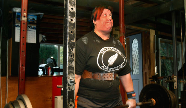 Powerlifter Sonia Manaena trains at the Otatara gym of her coach Brian Jenkins. 