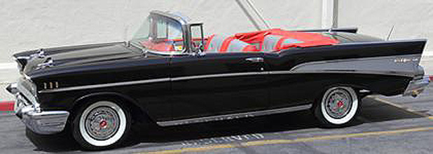 A Los Angeles Police Department photo of Dr Phil's 1957 Chevrolet convertible that has been stolen from a repair shop.