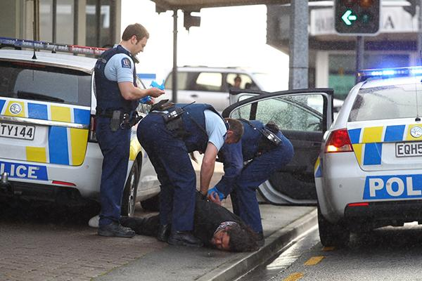 Six people on the corner of Victoria and Collingwood Sts were arrested for being intoxicated in a  public place.