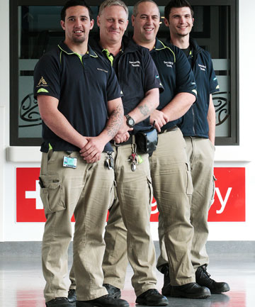 Waikato Hospital security staff,  from left,  Brett O'Connor, Paul Anderson, Ben Parkinson  and Bazil Couche