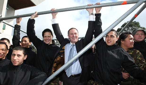 EMPLOYERS NEEDED: John Key flanked by boot camp graduates Talia Tuavao, left, and Jahze Ihaka Wawatai.