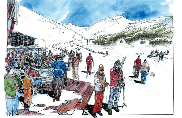 An artist's impression of the Porters skifield day lodge  to be developed in Crystal Valley.
