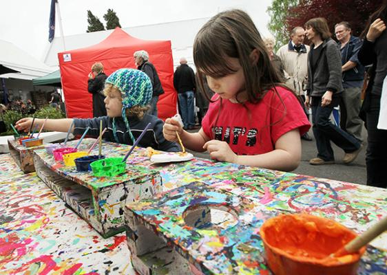BUDDING ARTISTS: Luca, 4, and Isabell Pavlovich, 5, kept themselves busy at a painting table.